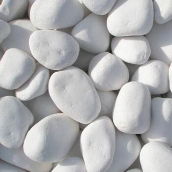 Βότσαλο - Οικοδομικά υλικά Milagro stone (η φωτογραφία δείχνει μεγάλα όμορφα και στρογγυλεμένα βότσαλα παραλίας σε λευκό χρώμα)